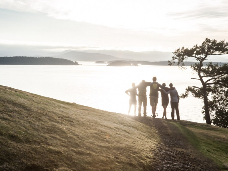 Sunset hike to Lover's Leap on Stuart Island while on a multi day kayak tour with San Juan Outfitters