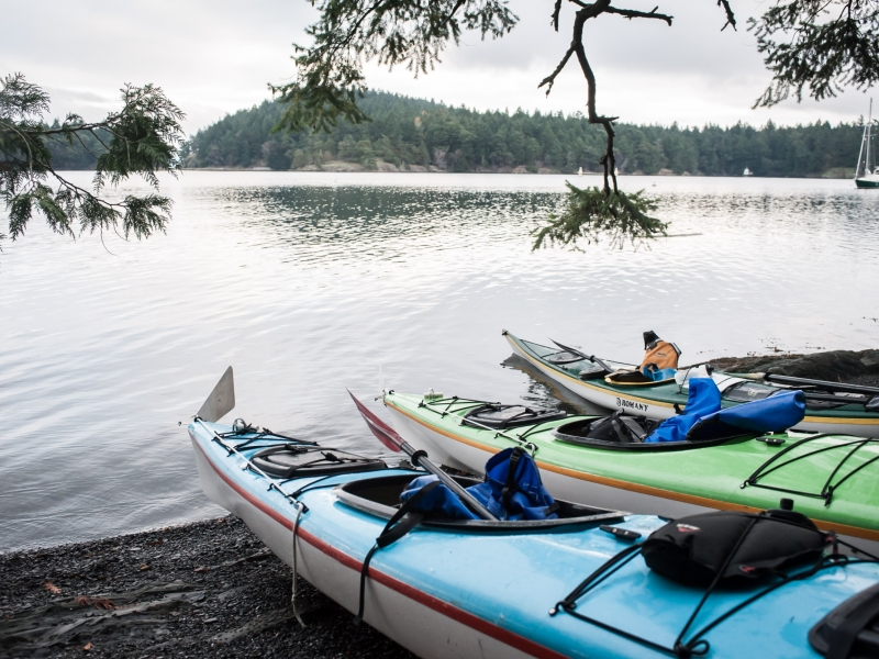 Explore hidden beaches with one of our multi sport kayak tours from Friday Harbor