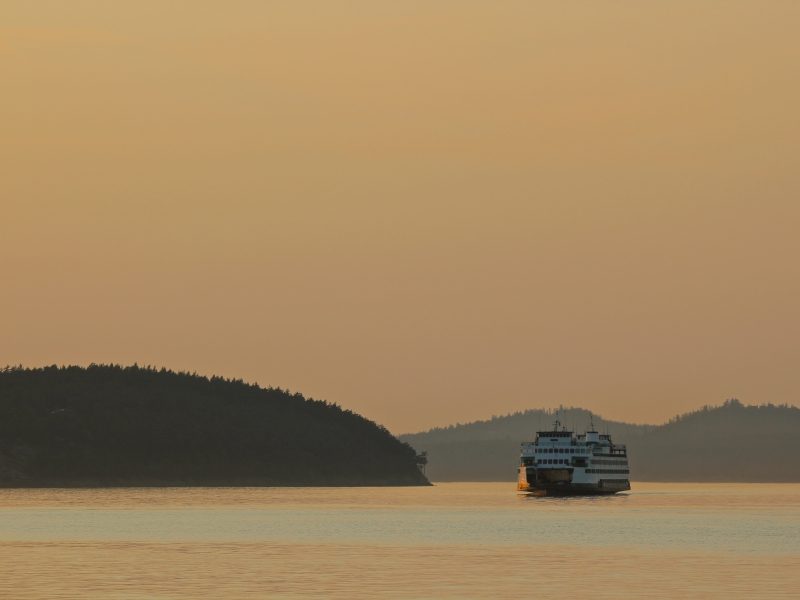 See the beauty of the San Juan Islands, like the iconic Washington State Ferry at Sunset