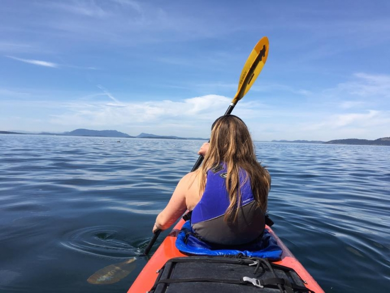 Kayak with whales in the San Juan Islands