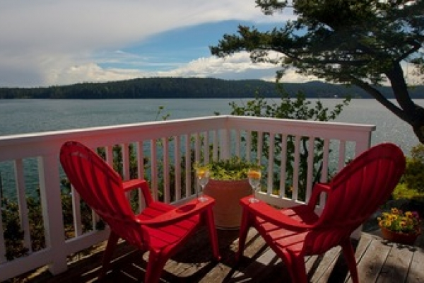 Deck view from a Dream Cottage on Orcas waterfront